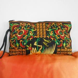 Yellow Flamingo embroidered Clutch ..