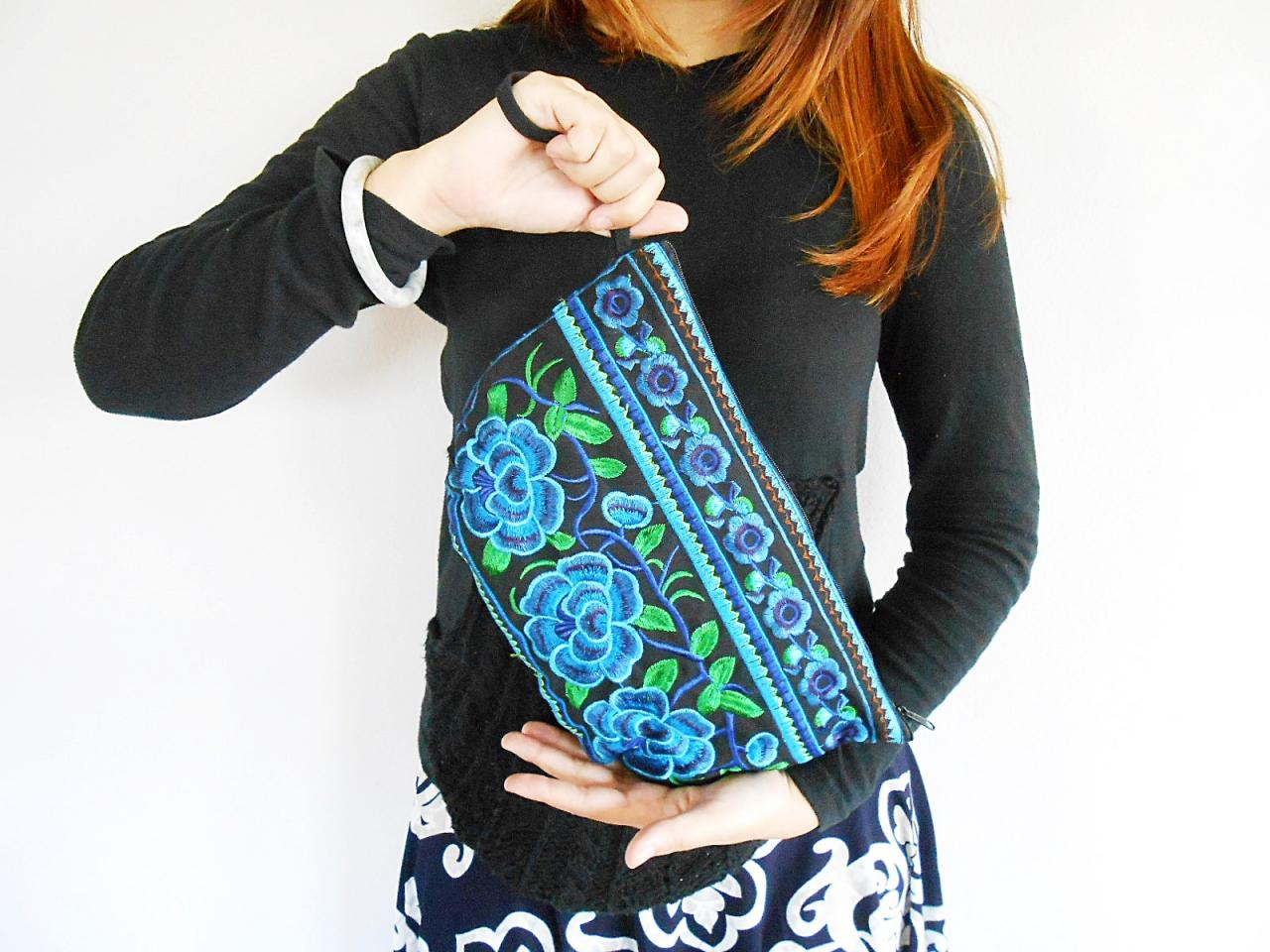 BLUE HALF MOON Clutch Bag, Handmade Embroidered w/ Black Fabric Chinese Hmong Hilltribe in Thailand. (KP1054-BLBK)