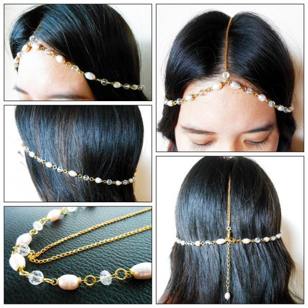 Hair Chain Accessory, Gold Chain with Pearls and Crystal Beads, Head Chain, Head Piece, Hair Jewelry JH1004