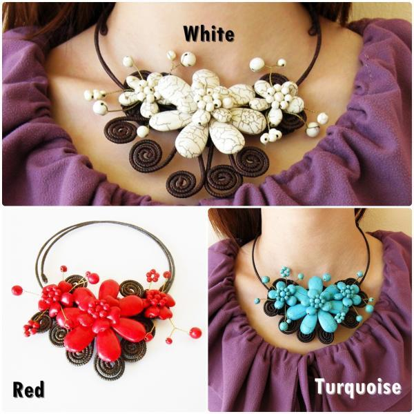 Flower Choker, 'Beauty' Stone Necklace with Waxed Cotton, Adjustable Size, Thailand Handmade Jewelry. (JN1010)