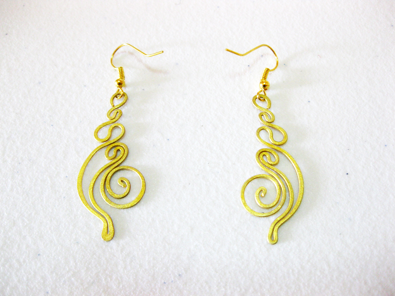 brass earrings swirl original fashion handmade thai thailand designs dangle jewelry product